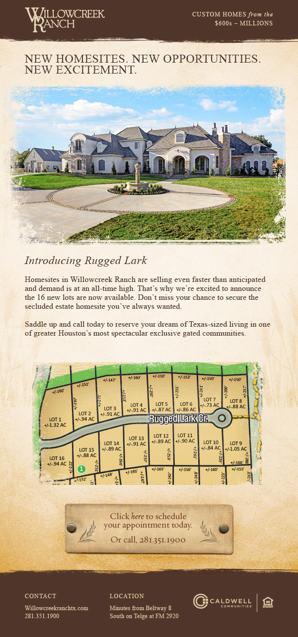 16 New Acerage Lots Available in Willowcreek Ranch